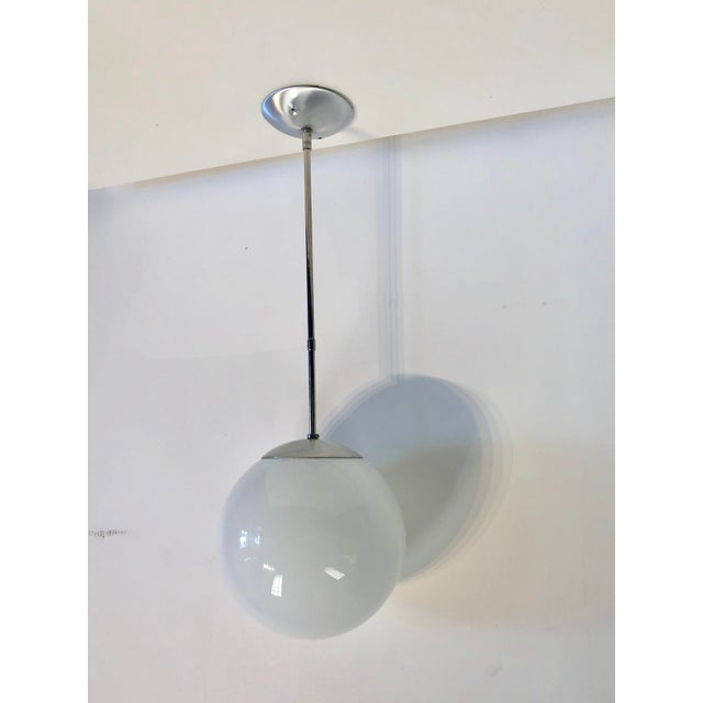 Art Deco Mid-Century Chrome Oversized Globe Pendant For Sale - Image 3 of 8