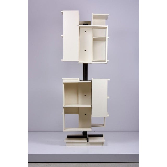 Metal Rotating Wooden Bookshelf by Claudio Salocchi for Sormani, Italy For Sale - Image 7 of 10