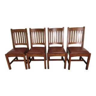 Stickley Cottage Oak Side Chairs- Set of 4 For Sale