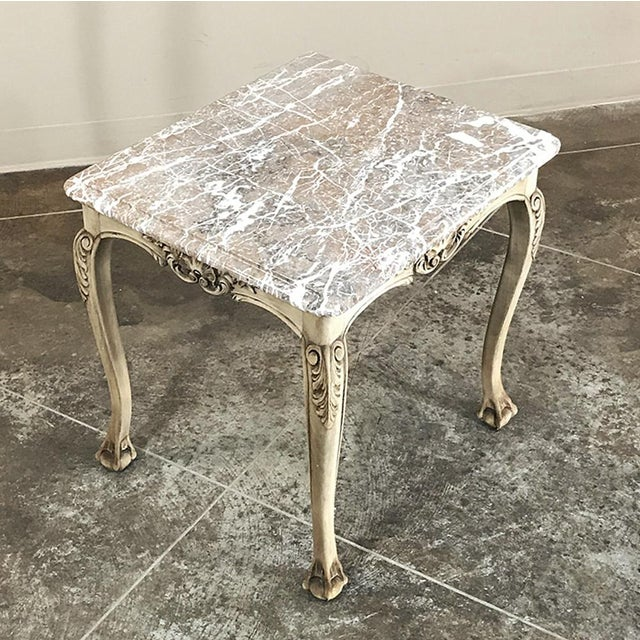 Antique Regence Marble Top Stripped Walnut Occasional Table For Sale - Image 4 of 10