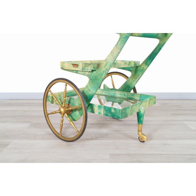 Green Italian Modernist Goatskin Bar Cart by Aldo Tura For Sale - Image 8 of 11