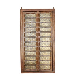 Antique Indian Doors Elephant on Brass Terrace Door For Sale