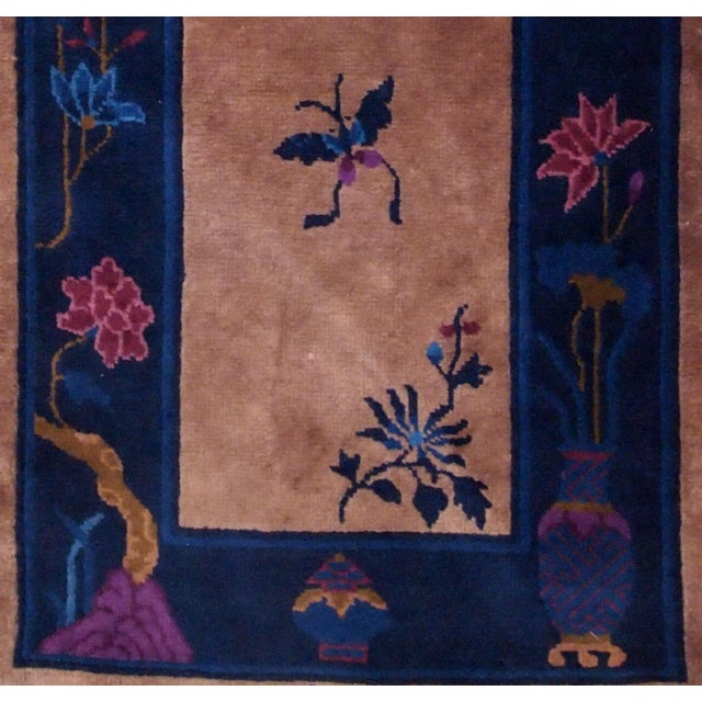 Textile 1920s Handmade Antique Art Deco Chinese Rug 2.2' X 6.7' For Sale - Image 7 of 9