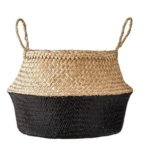 Medium Black Dipped Sea Grass Belly Basket For Sale In Dallas - Image 6 of 6