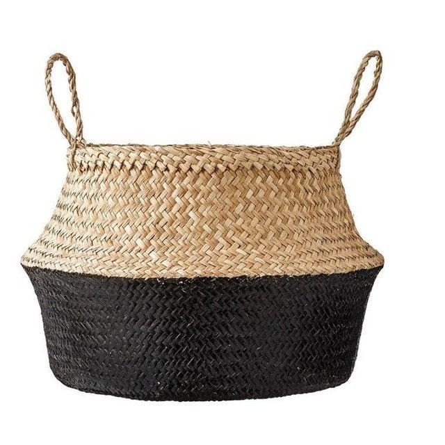 Medium Black Dipped Sea Grass Belly Basket - Image 6 of 6