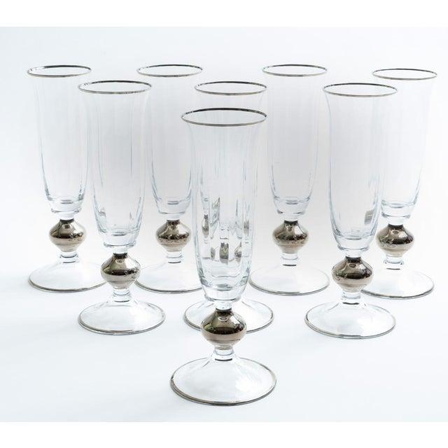 Art Deco crystal barware / tableware champagne flute with platinum design details. Each flute is in excellent vintage...