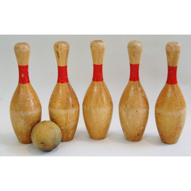 Vintage Child's Bowling Pins & Ball - Set of 6 - Image 7 of 8