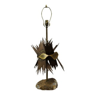 1970s Brutalist Bijan Brass, Copper and Agate Table Lamp For Sale