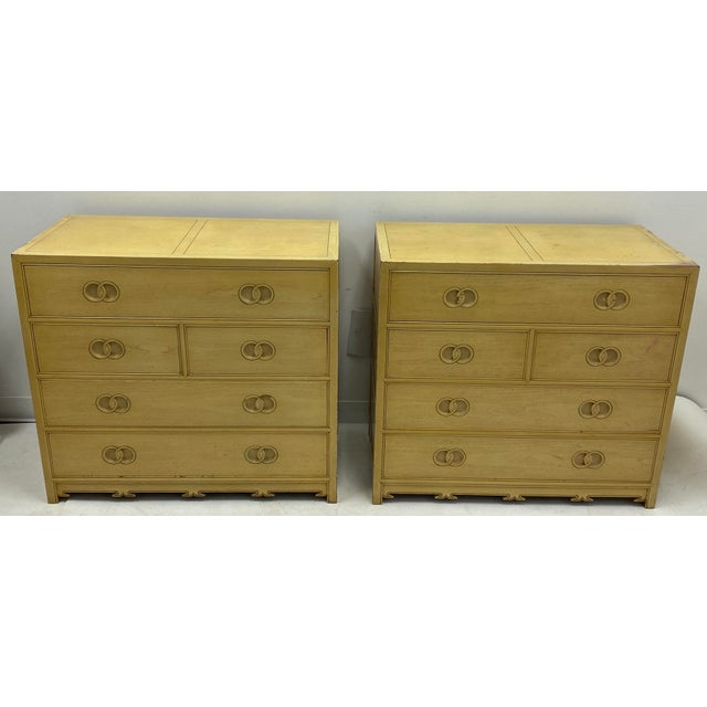 1970s Pair of Asian Modern Michael Taylor for Baker Furniture Chest of Drawers For Sale - Image 5 of 7