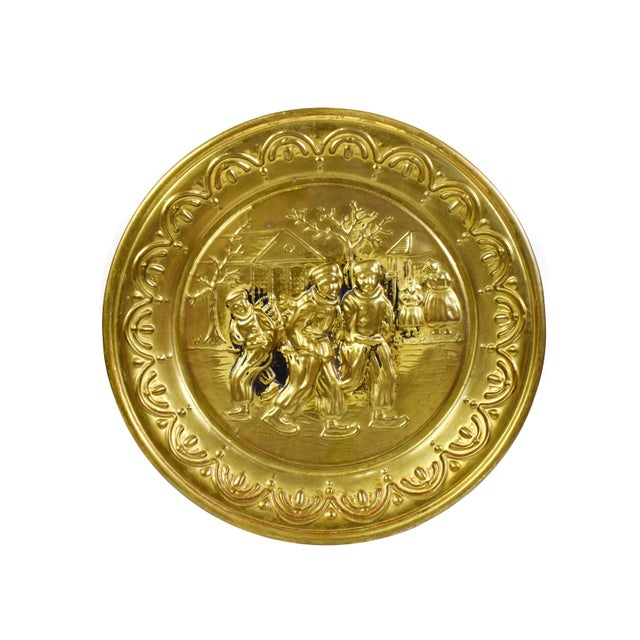 Vintage England Scene Embossed Brass Wall Hanging Tray Plate, England - 5 Pieces For Sale - Image 4 of 12