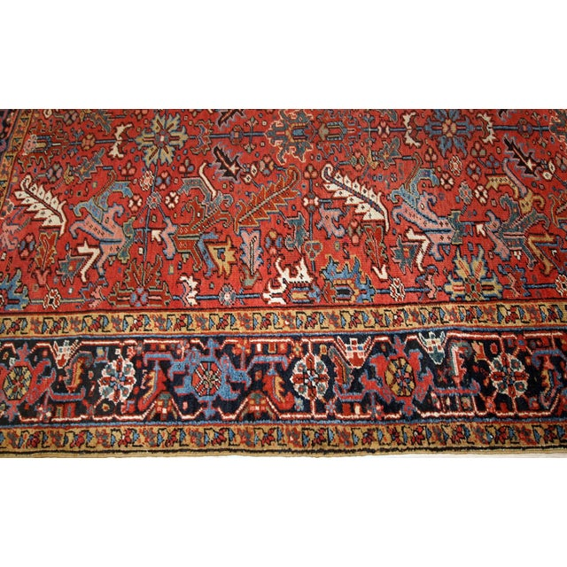 Islamic 1900s, Handmade Antique Persian Heriz Rug For Sale - Image 3 of 12