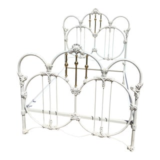 Mid 18th Century Antique Iron & Brass Bedframe For Sale