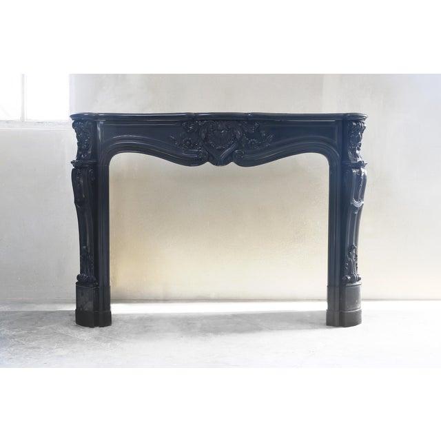 Black Antique Marble Fireplace, Noir De Mazy, Louis Xv, 19th Century For Sale - Image 8 of 8