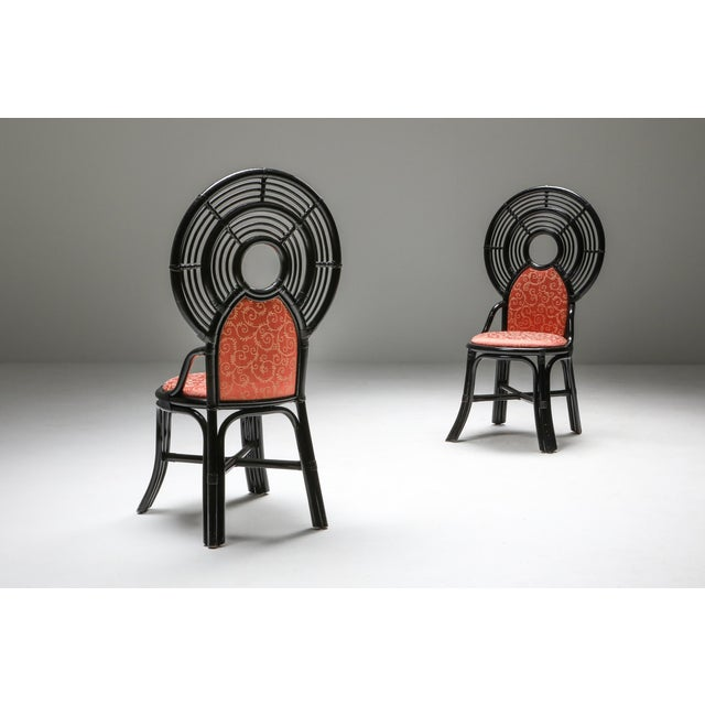 Bamboo Set of Chairs From Italy With Oriental Influences - 1970's For Sale - Image 4 of 7