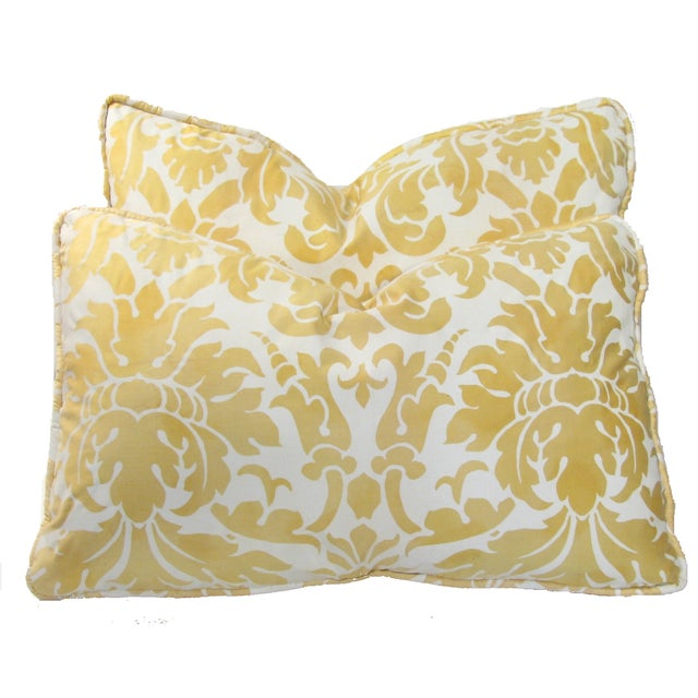 Italian Fortuny-Style Down Pillows - A Pair - Image 1 of 3