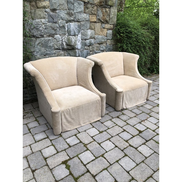 Modern Upholstered Lounge Chairs- A Pair For Sale - Image 9 of 12