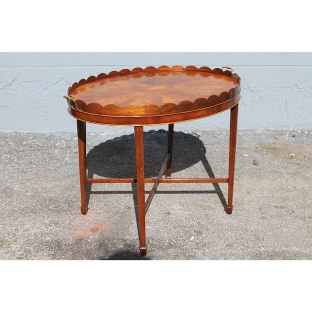 "Mid-Century Modern Signed Baker ""Collectors Edition"" Exotic Burl Amboyna Tea Table For Sale - Image 10 of 13"