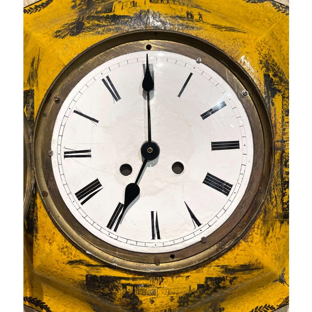 19th Century, French Napoleon III Painted Tole Wall Clock For Sale - Image 9 of 12