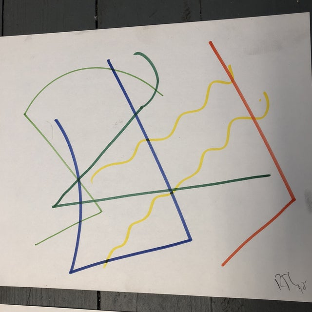 Drawing/Sketching Materials Original Robert Cooke Colored Marker Abstract Drawings Set 4 For Sale - Image 7 of 9