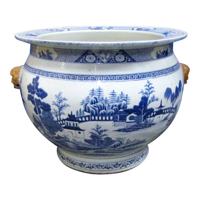 Vintage Asian Blue and White Urn Pot With Applied Face Handles For Sale