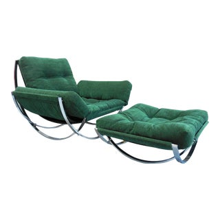 Cool Armillarie Chair and Ottoman Set, 1970s