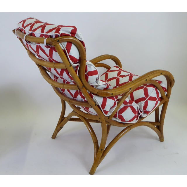 1940s Tropical Modern Rattan Lounge Chair and Ottoman For Sale - Image 4 of 13