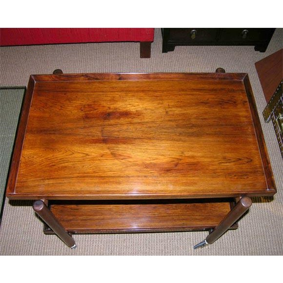 Danish Modern Poul Hundevad Danish Rosewood Serving Trolley For Sale - Image 3 of 9