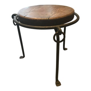 1970s Vintage Style Iron Tripod Leg Side Table For Sale