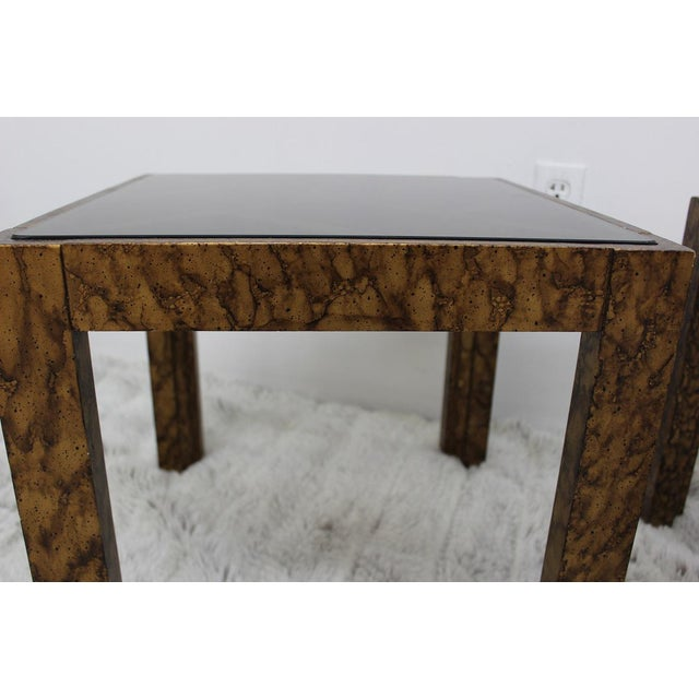 Mid Century Modern pair of end tables with glass tops For Sale In Boston - Image 6 of 10