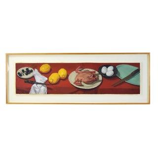 1985 Jane Fisher Still Life W Chicken Eggs & Lemon Oil Painting