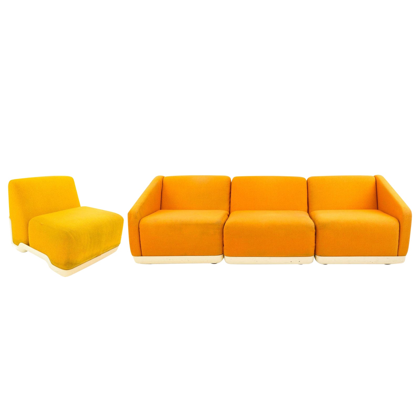 Mid-Century Modern Harvey Probber Fiberglass Convertible Sectional Sofa - 4  Pieces