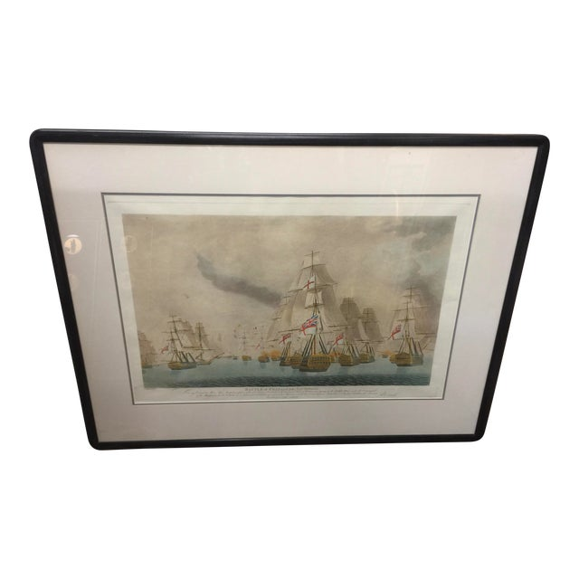 Battle of Trafalgar Lithograph Nautical For Sale