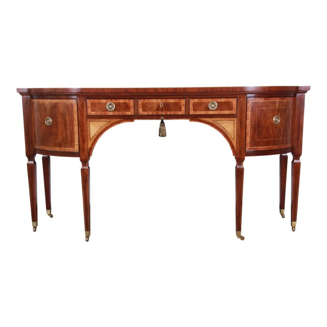 Baker Furniture Stately Homes Sheraton Bow Front Inlaid Mahogany Sideboard For Sale