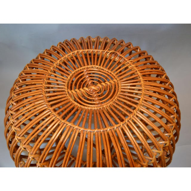 Vintage Franco Albini Hand-Woven Rattan / Wicker Ottoman Pouf For Sale - Image 10 of 12