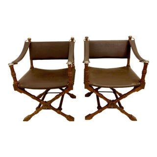 Pair of Italian Walnut Campaign Style Chairs For Sale