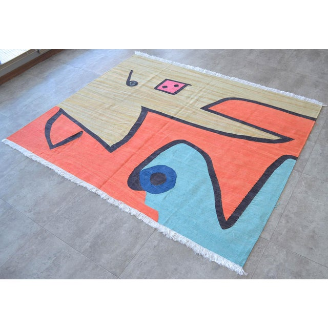2010s Paul Klee - Silence of the Angel - Inspired Silk Hand Woven Area - Wall Rug 4′6″ × 5′7″ For Sale - Image 5 of 11