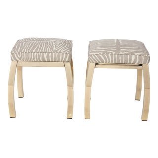 Pair of Le Zebre Upholstered Brass Benches
