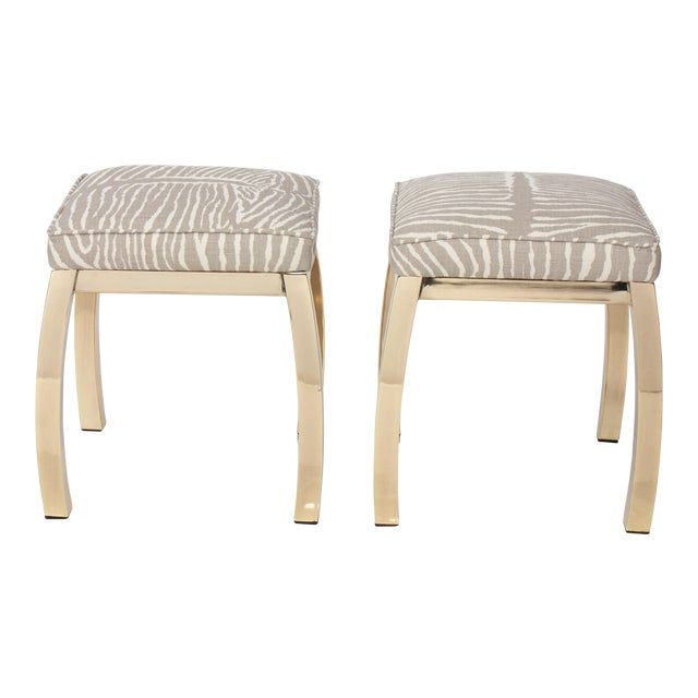 Pair of Le Zebre Upholstered Brass Benches For Sale