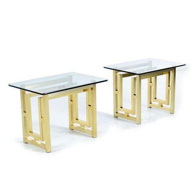 Pair of Hollywood Regency Mid-Century Modern Milo Baughman Gold Brass End Tables For Sale In Tampa - Image 6 of 8