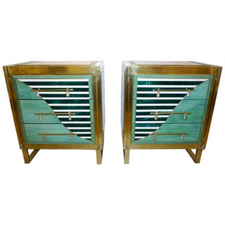 Italian Modern Geometric Green Ivory White and Brass Chests / Nightstands - a Pair For Sale