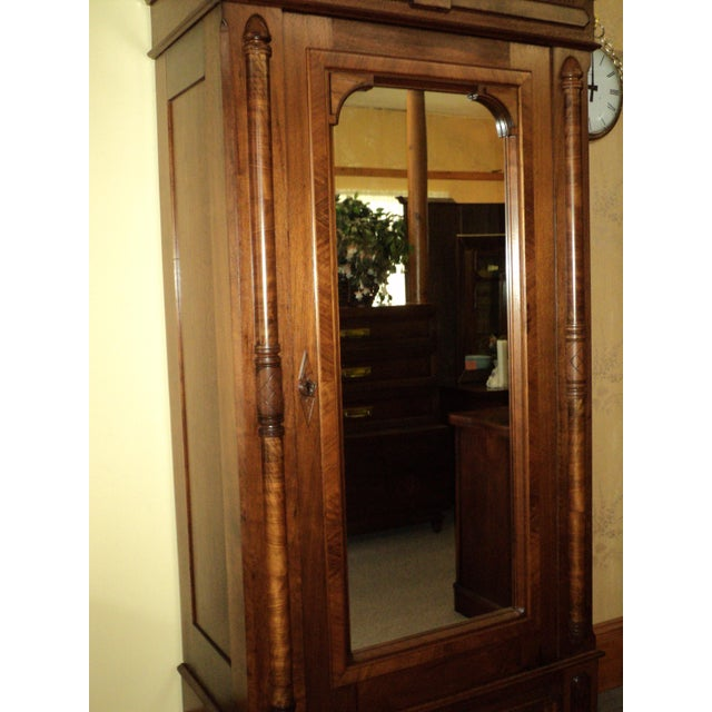 Antique Walnut Eastlake Victorian Armoire - Image 4 of 8