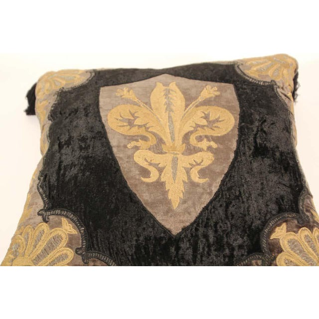 Metal Baroque Silk Velvet Applique Throw Decorative Pillow with Tassels For Sale - Image 7 of 11