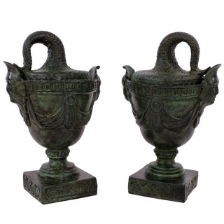 19th Century Bronze Tazzas - a Pair For Sale
