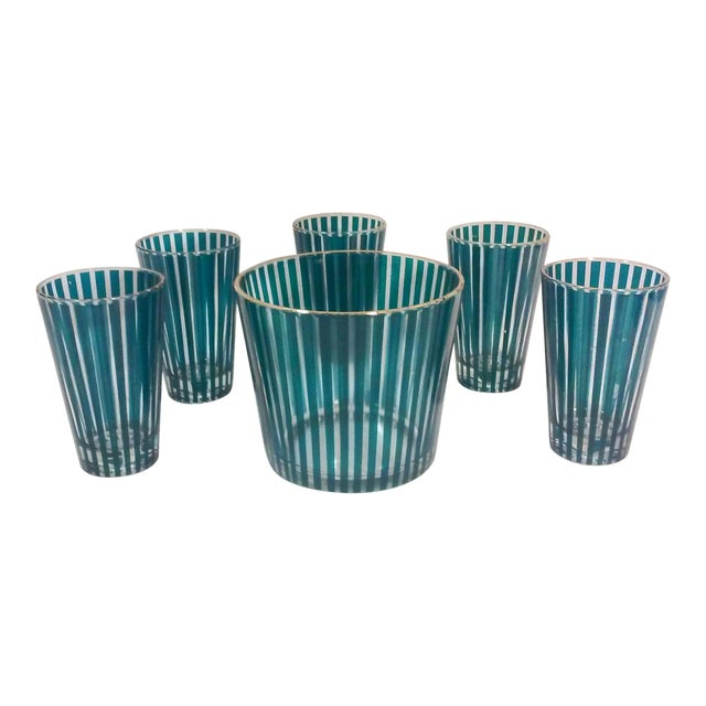 Mid Century Green Stripe Bar Set, Six Pieces For Sale