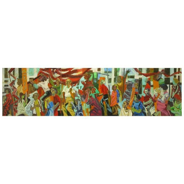 Important 12.5' 1965 Civil Rights Mural by Joan Linsley (1922-2000) For Sale - Image 11 of 11