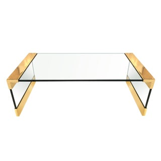 Mid Century Modern Brass Corner Glass Top Coffee Table