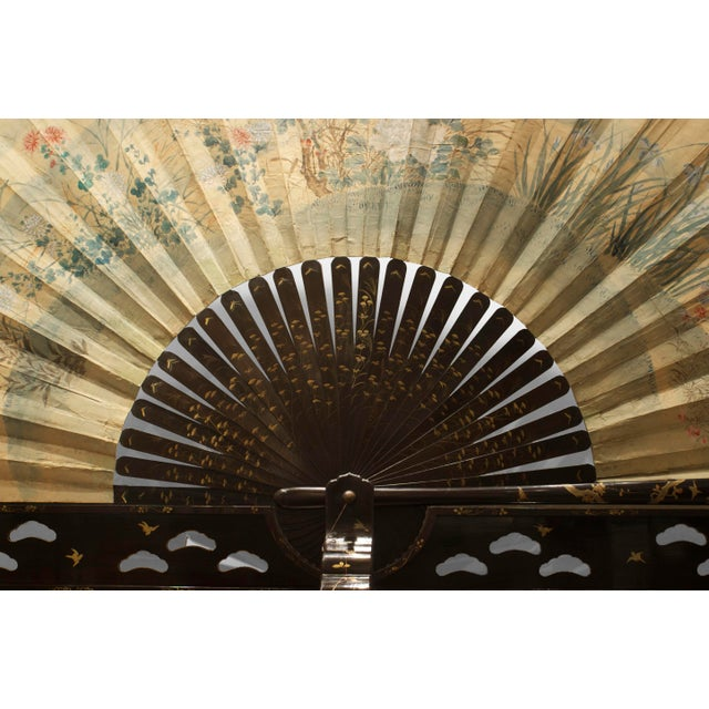 Asian Asian Japanese Monumental Exhibition Quality Folding Fan For Sale - Image 3 of 11