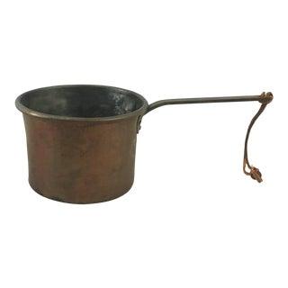 Antique Long-Handled 2 Liter Copper Pan