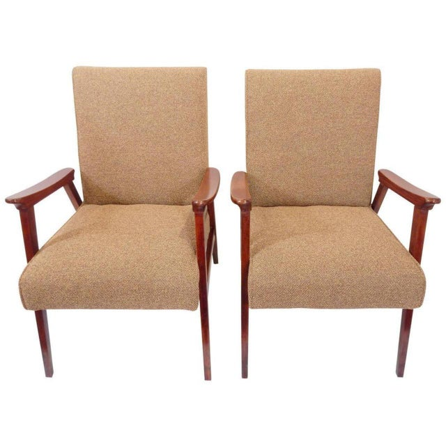 Tan Pair of Vintage Armchairs, French, 1950s For Sale - Image 8 of 8
