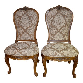 Century Tuscan Style Carved Oval Back Side Chairs - a Pair For Sale